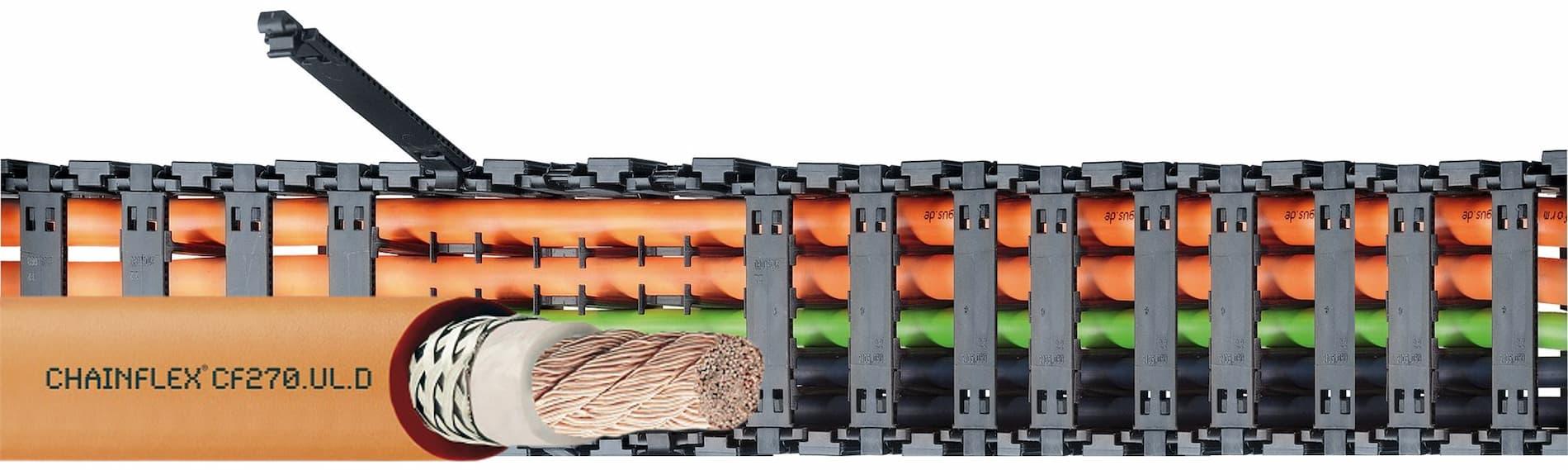 cable unipolar en cadena portacables